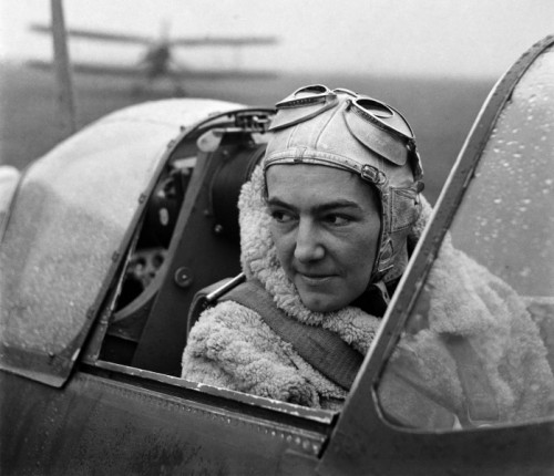 Anna Leska, Air Transport Auxilliary, Polish pilot flying a spitfire, White Waltham, Berkshire, England 1942 by Lee Miller
