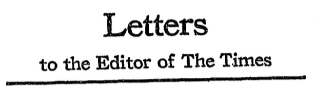 Titre de section quotidienne des lettres au rédacteur, New York Times, © The New York Times Company, février 1968.